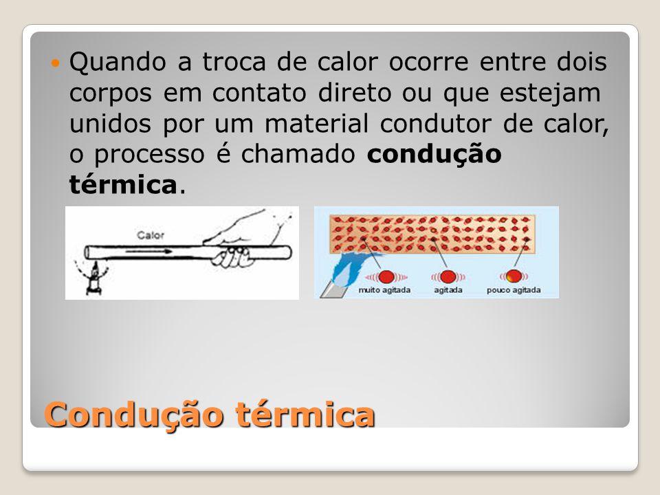Quando a troca de calor ocorre entre dois corpos em contato direto ou que estejam unidos por um material condutor de calor, o processo é chamado condução térmica.