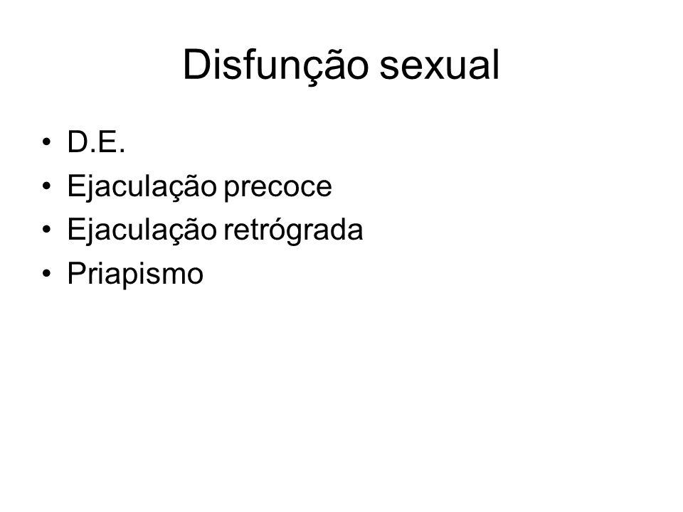 Disfunção sexual D.E. Ejaculação precoce Ejaculação retrógrada