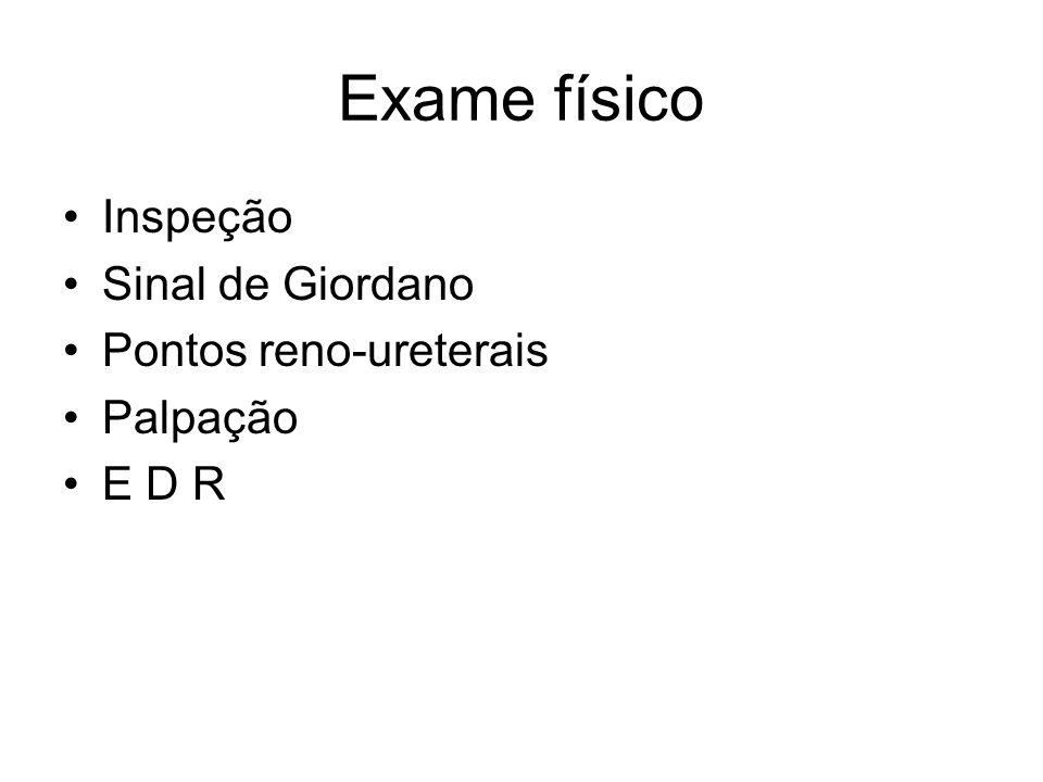 Exame físico Inspeção Sinal de Giordano Pontos reno-ureterais Palpação