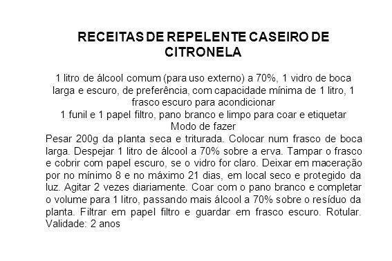 RECEITAS DE REPELENTE CASEIRO DE CITRONELA