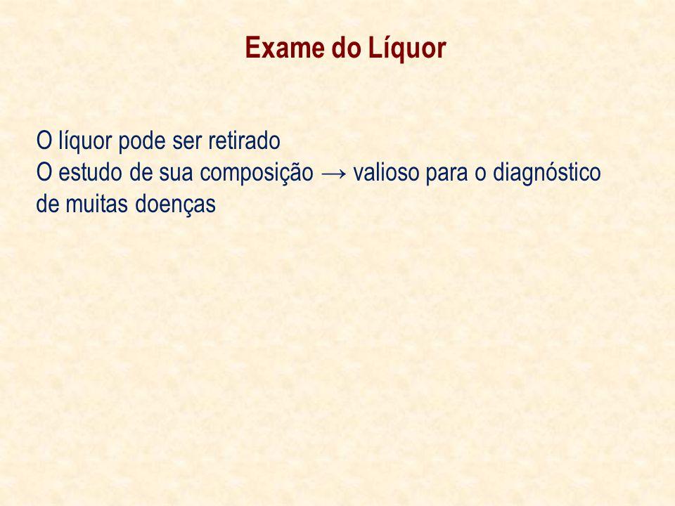Exame do Líquor O líquor pode ser retirado