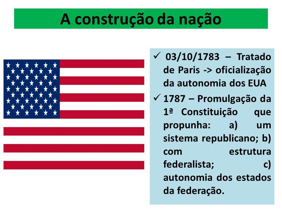 A construção da nação 03/10/1783 – Tratado de Paris -> oficialização da autonomia dos EUA.
