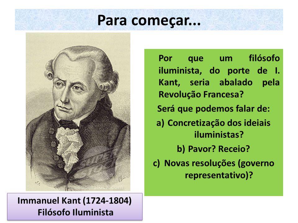 Para começar... Por que um filósofo iluminista, do porte de I. Kant, seria abalado pela Revolução Francesa