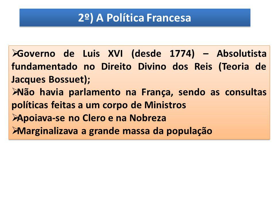 2º) A Política Francesa Governo de Luis XVI (desde 1774) – Absolutista fundamentado no Direito Divino dos Reis (Teoria de Jacques Bossuet);