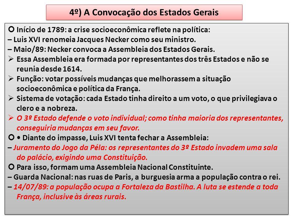 4º) A Convocação dos Estados Gerais