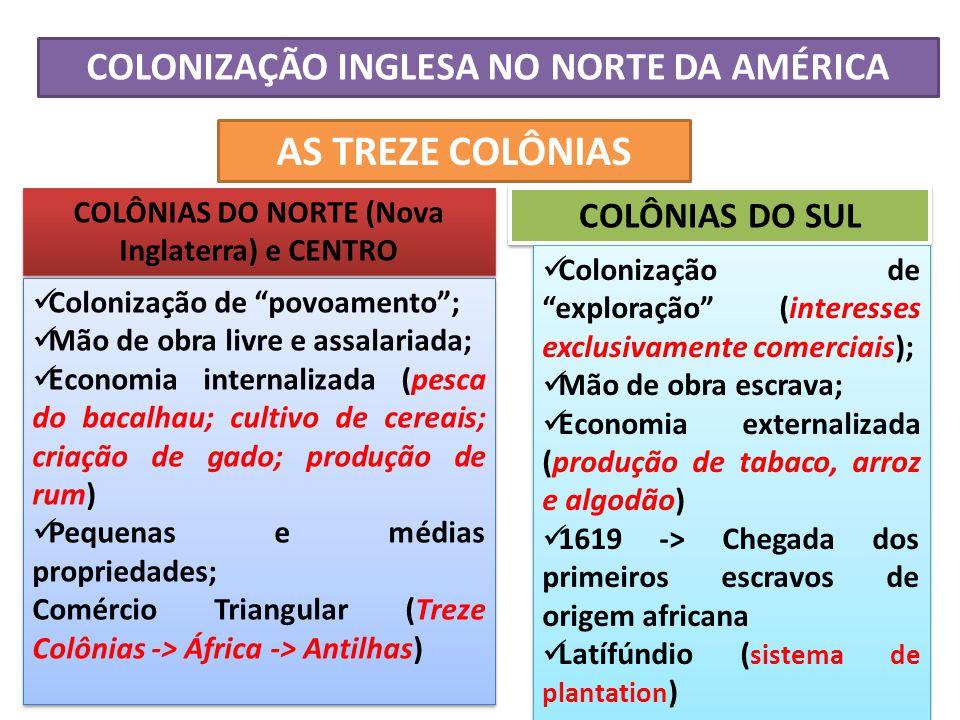 AS TREZE COLÔNIAS COLONIZAÇÃO INGLESA NO NORTE DA AMÉRICA