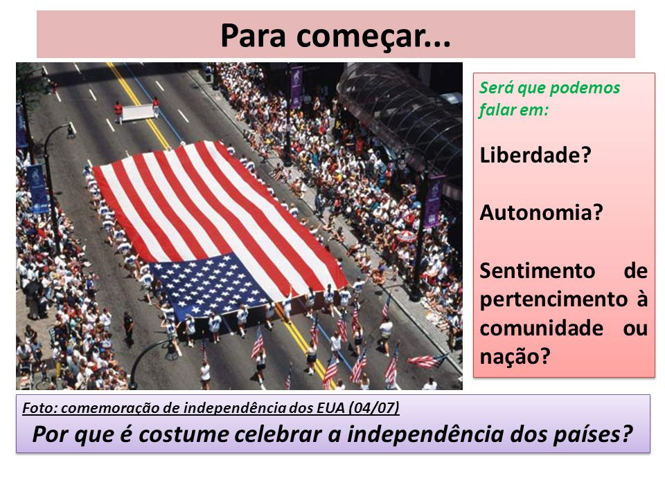 Por que é costume celebrar a independência dos países