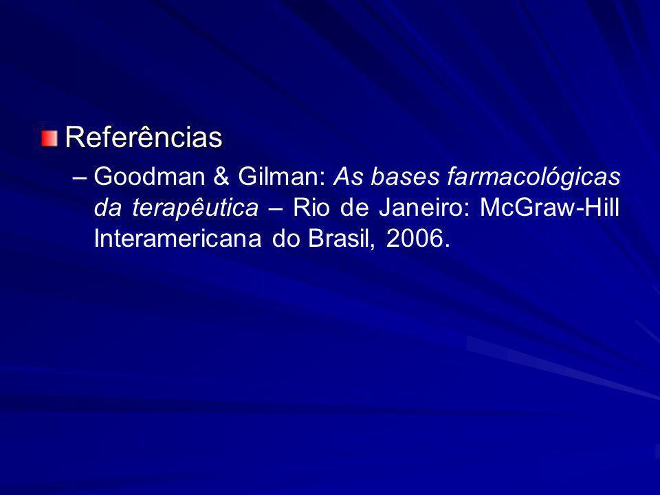 Referências Goodman & Gilman: As bases farmacológicas da terapêutica – Rio de Janeiro: McGraw-Hill Interamericana do Brasil, 2006.