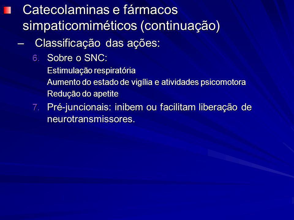 Catecolaminas e fármacos simpaticomiméticos (continuação)