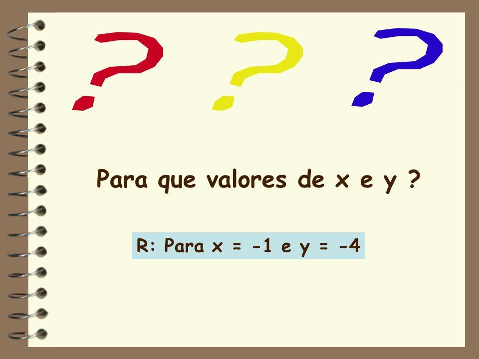 Para que valores de x e y R: Para x = -1 e y = -4