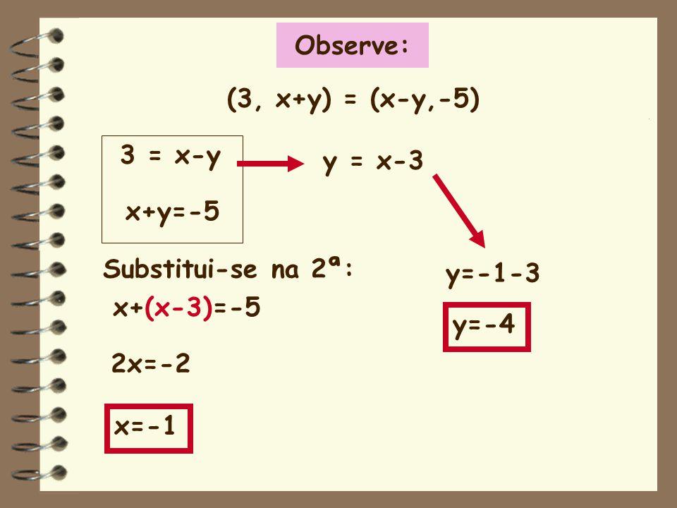 Observe: (3, x+y) = (x-y,-5) 3 = x-y. x+y=-5. y = x-3. y=-4. y=-1-3. Substitui-se na 2ª: x+(x-3)=-5.
