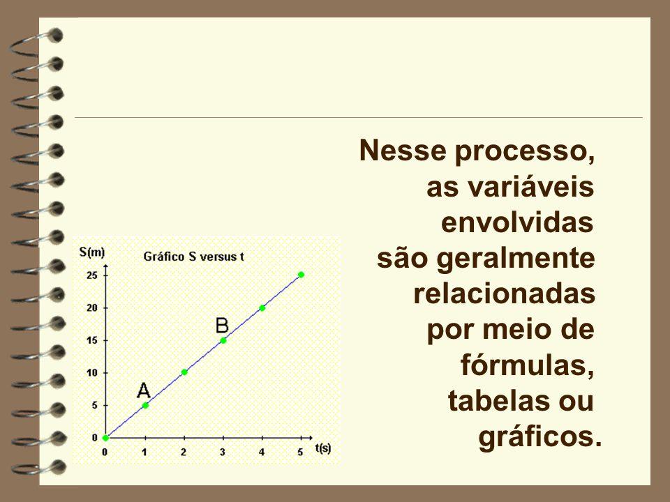 Nesse processo, as variáveis. envolvidas. são geralmente. relacionadas. por meio de. fórmulas,