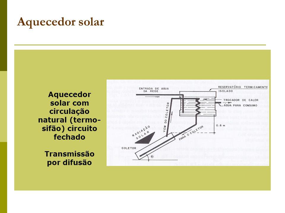 Aquecedor solar Aquecedor solar com circulação natural (termo-sifão) circuito fechado.