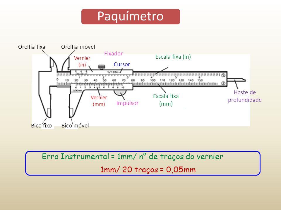 Paquímetro Erro Instrumental = 1mm/ n° de traços do vernier