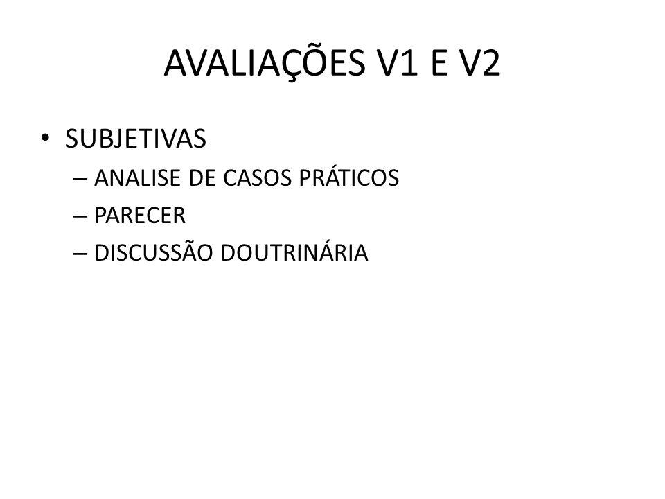 AVALIAÇÕES V1 E V2 SUBJETIVAS ANALISE DE CASOS PRÁTICOS PARECER
