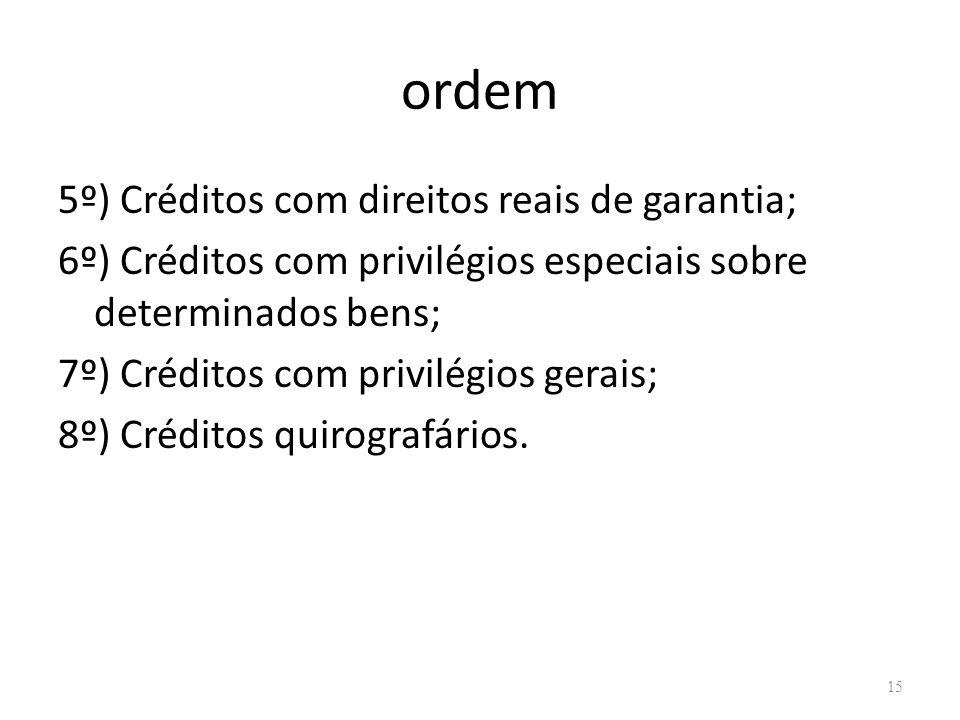 ordem 5º) Créditos com direitos reais de garantia;