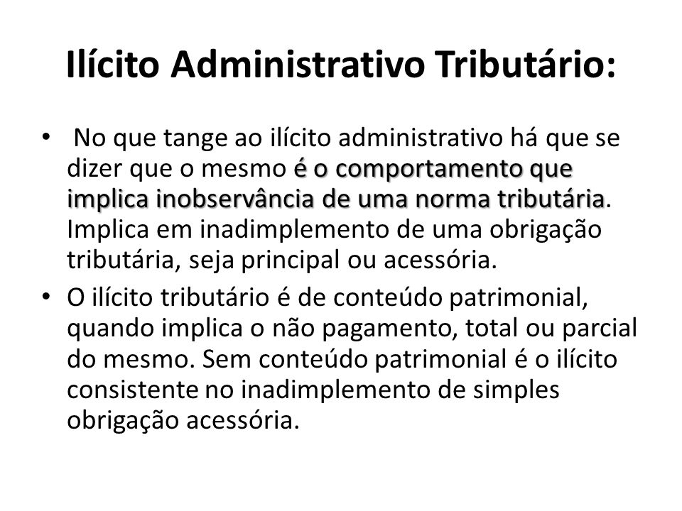 Ilícito Administrativo Tributário: