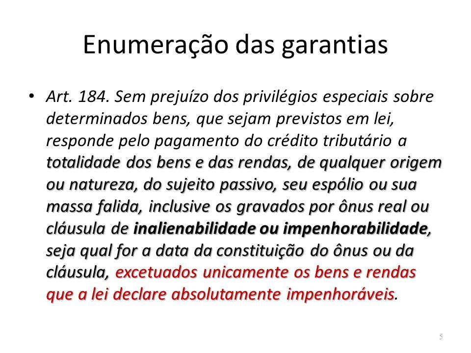 Enumeração das garantias