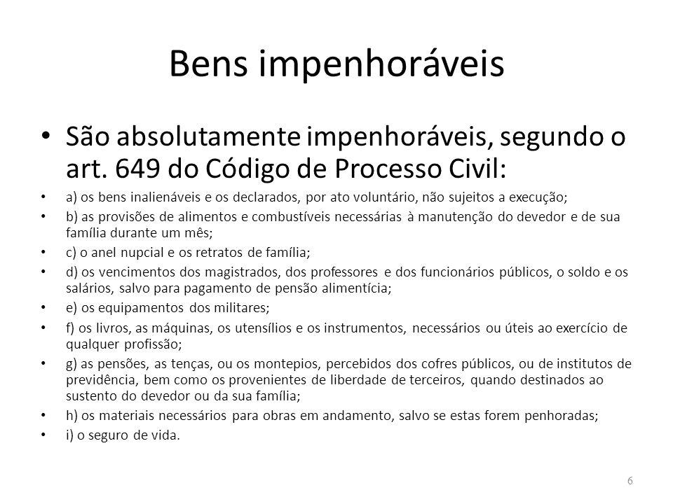Bens impenhoráveis São absolutamente impenhoráveis, segundo o art. 649 do Código de Processo Civil: