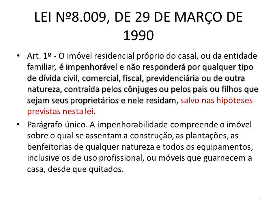 LEI Nº8.009, DE 29 DE MARÇO DE 1990
