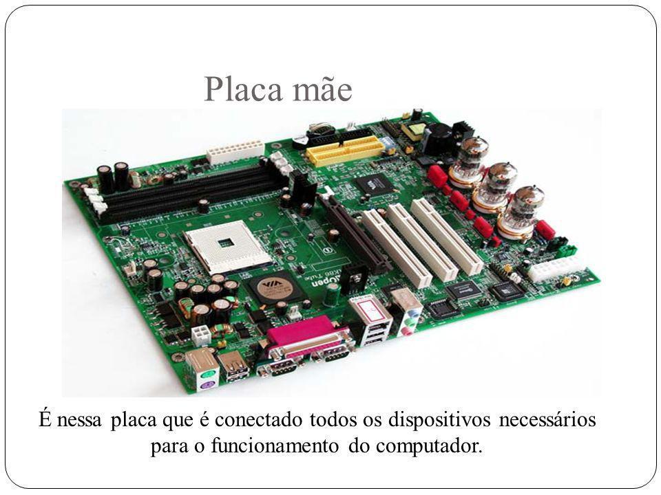 Placa mãe É nessa placa que é conectado todos os dispositivos necessários para o funcionamento do computador.