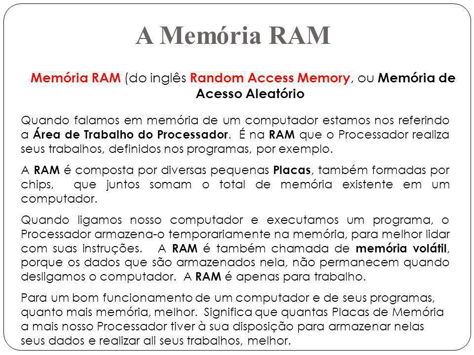A Memória RAM Memória RAM (do inglês Random Access Memory, ou Memória de Acesso Aleatório.