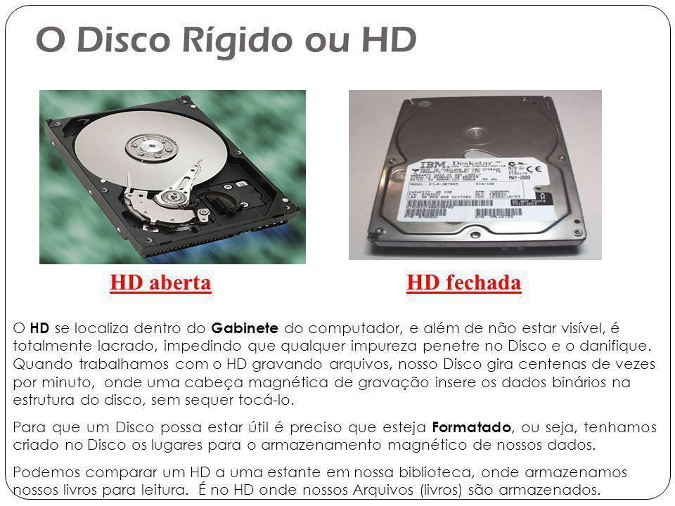 O Disco Rígido ou HD HD aberta HD fechada