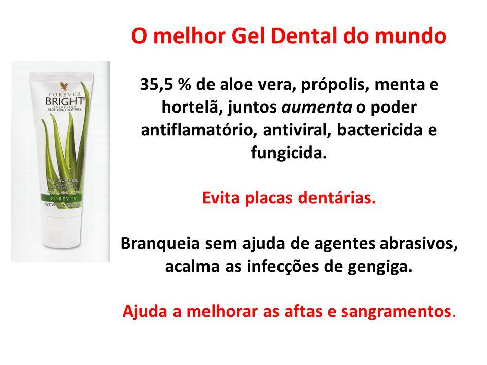 O melhor Gel Dental do mundo 35,5 % de aloe vera, própolis, menta e hortelã, juntos aumenta o poder antiflamatório, antiviral, bactericida e fungicida.
