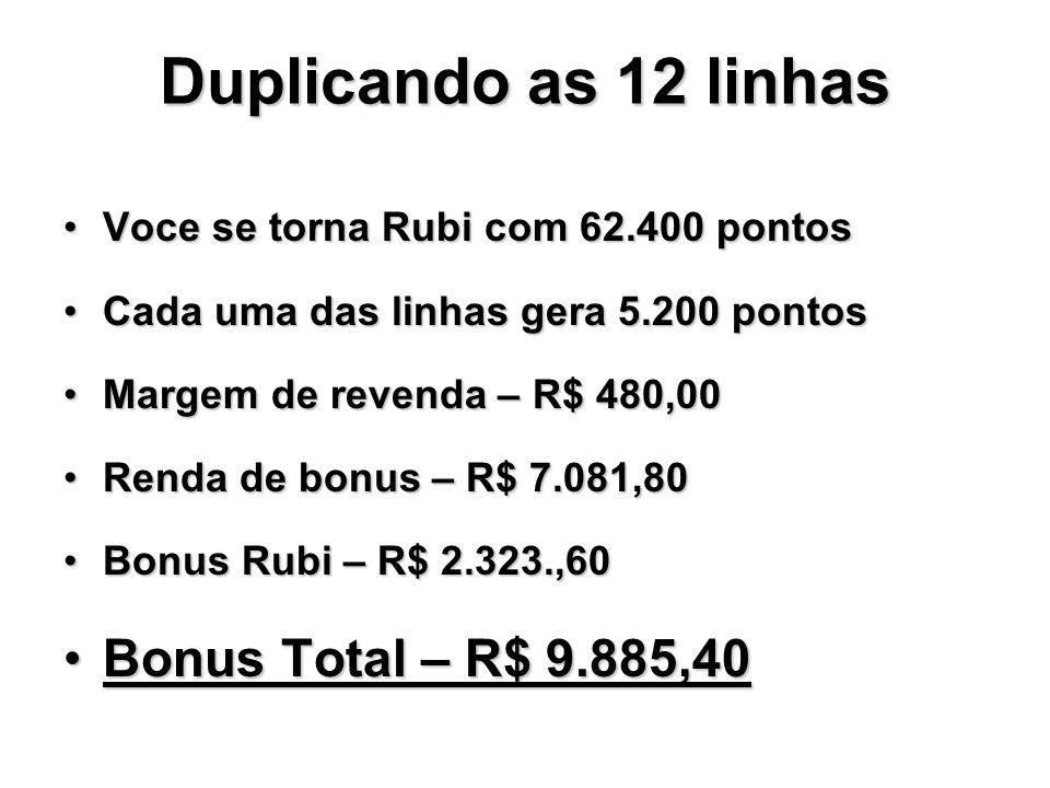 Duplicando as 12 linhas Bonus Total – R$ 9.885,40