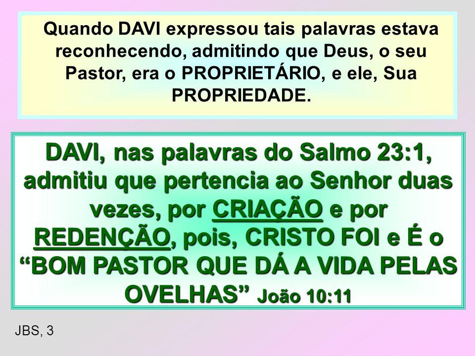 Quando DAVI expressou tais palavras estava reconhecendo, admitindo que Deus, o seu Pastor, era o PROPRIETÁRIO, e ele, Sua PROPRIEDADE.