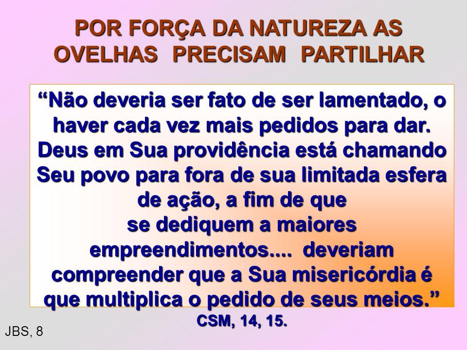 POR FORÇA DA NATUREZA AS OVELHAS PRECISAM PARTILHAR