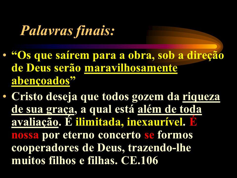 Palavras finais: Os que saírem para a obra, sob a direção de Deus serão maravilhosamente abençoados