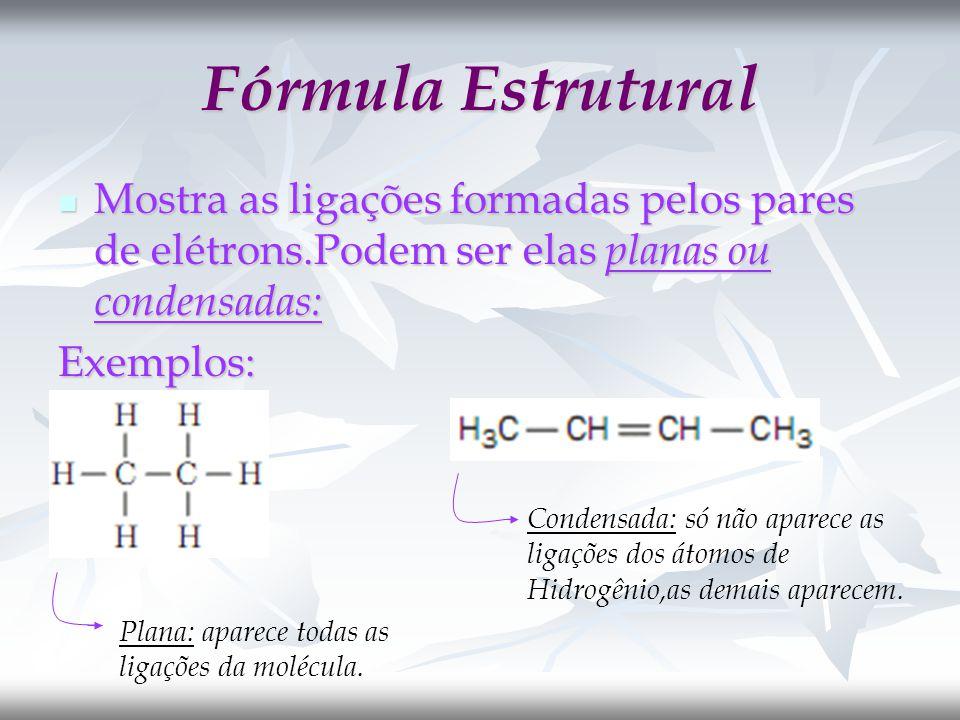 Fórmula Estrutural Mostra as ligações formadas pelos pares de elétrons.Podem ser elas planas ou condensadas: