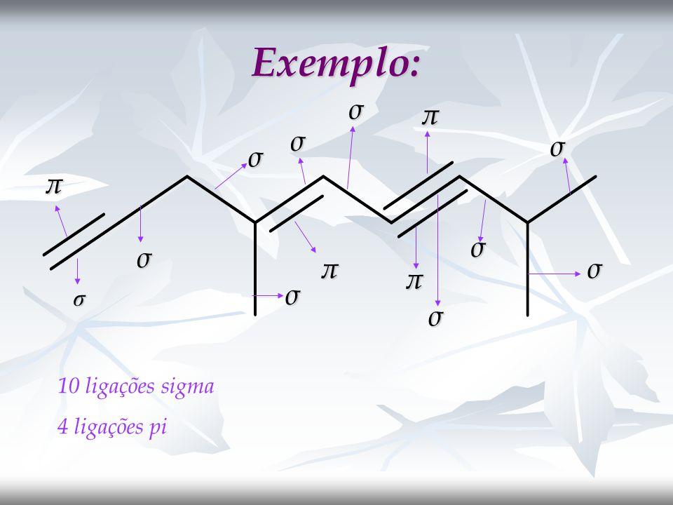 Exemplo: σ π σ σ σ π σ σ π σ π σ σ σ 10 ligações sigma 4 ligações pi