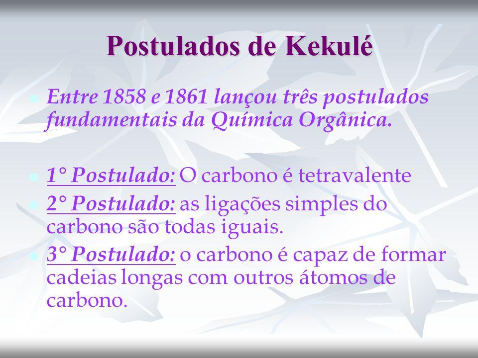 Postulados de Kekulé Entre 1858 e 1861 lançou três postulados fundamentais da Química Orgânica. 1° Postulado: O carbono é tetravalente.