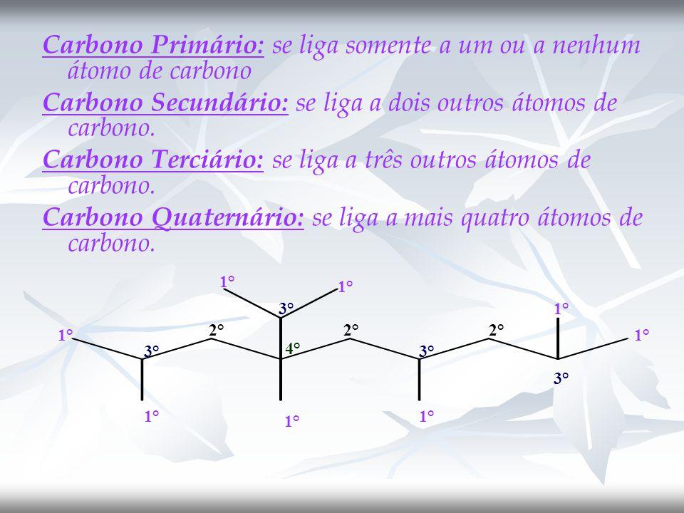 Carbono Primário: se liga somente a um ou a nenhum átomo de carbono