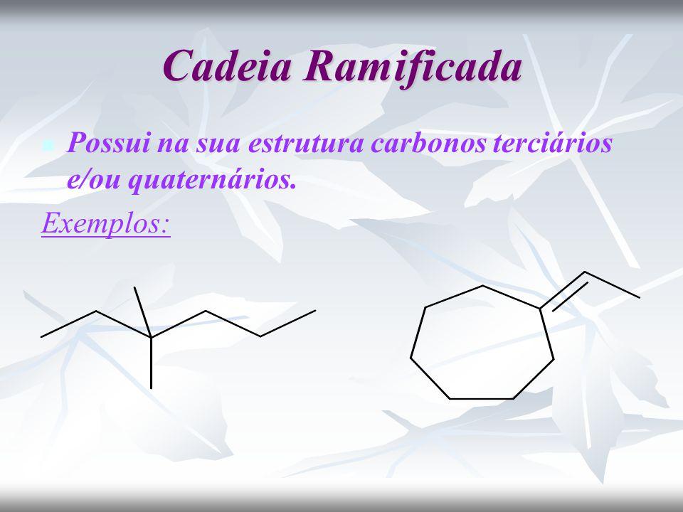 Cadeia Ramificada Possui na sua estrutura carbonos terciários e/ou quaternários. Exemplos: