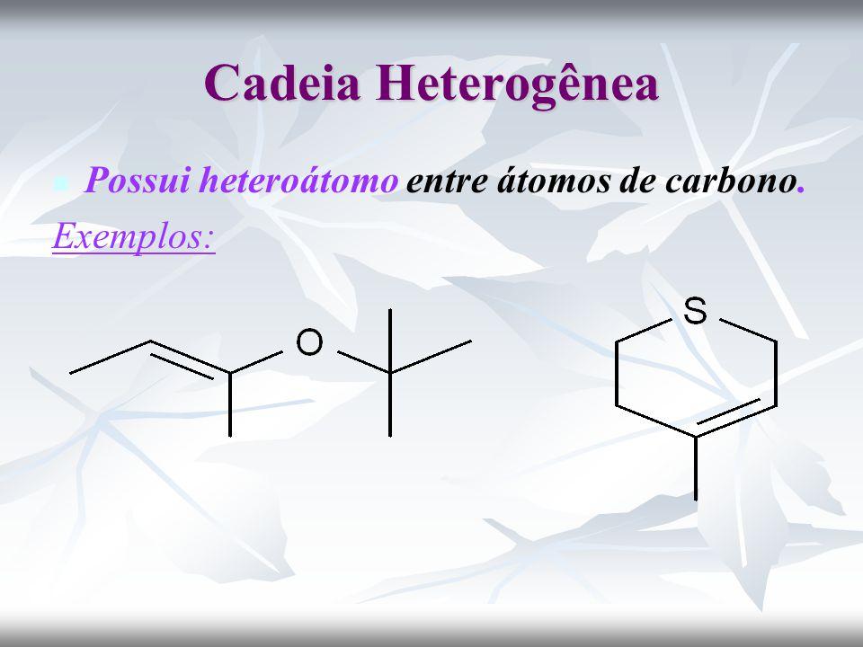Cadeia Heterogênea Possui heteroátomo entre átomos de carbono.