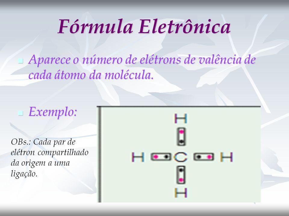 Fórmula Eletrônica Aparece o número de elétrons de valência de cada átomo da molécula. Exemplo: