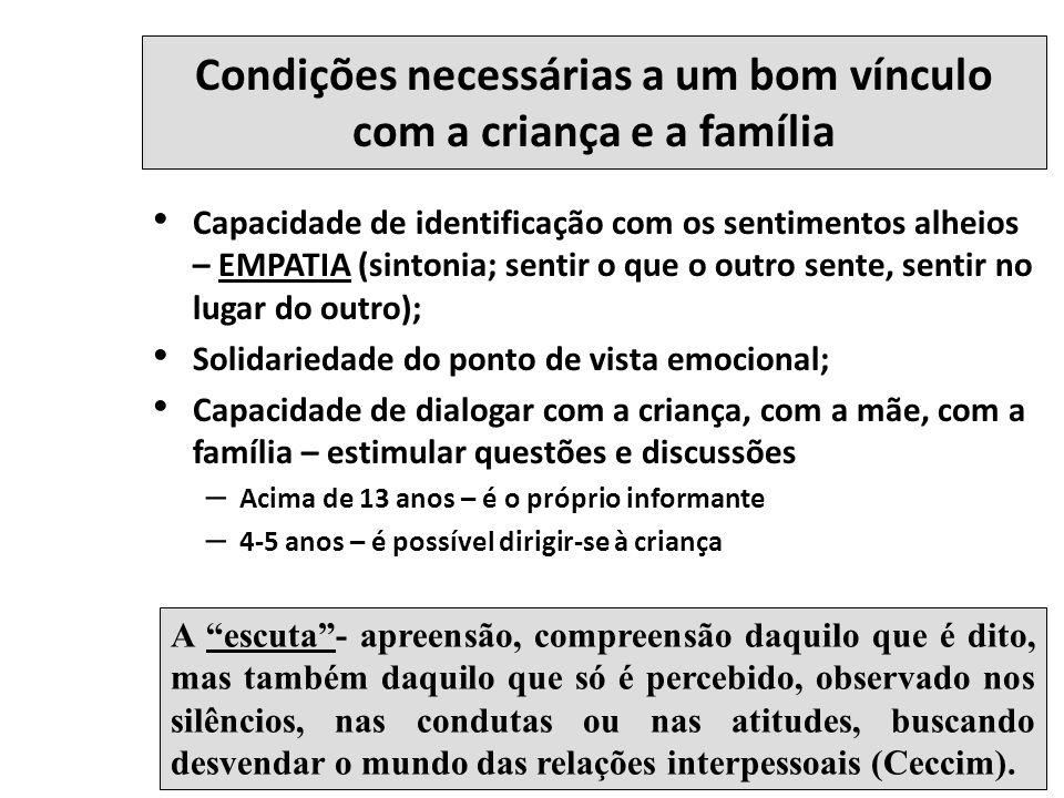 Condições necessárias a um bom vínculo com a criança e a família