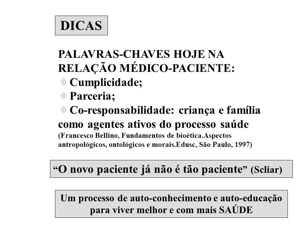 DICAS PALAVRAS-CHAVES HOJE NA RELAÇÃO MÉDICO-PACIENTE: Cumplicidade;