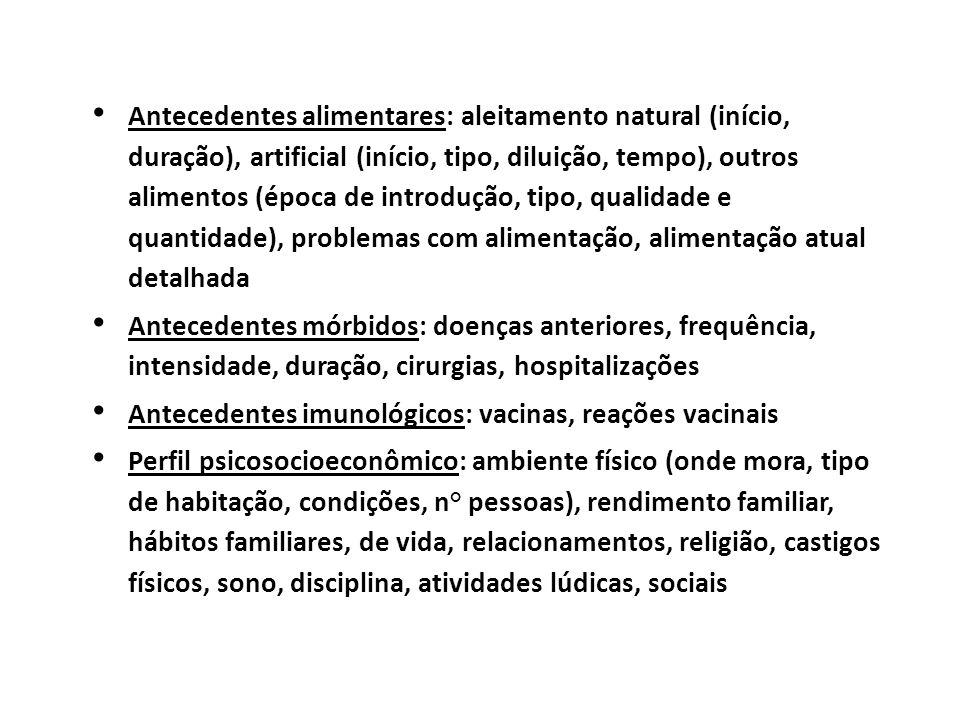 Antecedentes alimentares: aleitamento natural (início, duração), artificial (início, tipo, diluição, tempo), outros alimentos (época de introdução, tipo, qualidade e quantidade), problemas com alimentação, alimentação atual detalhada