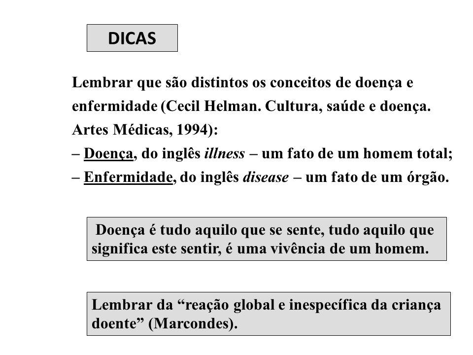 DICAS Lembrar que são distintos os conceitos de doença e enfermidade (Cecil Helman. Cultura, saúde e doença. Artes Médicas, 1994):
