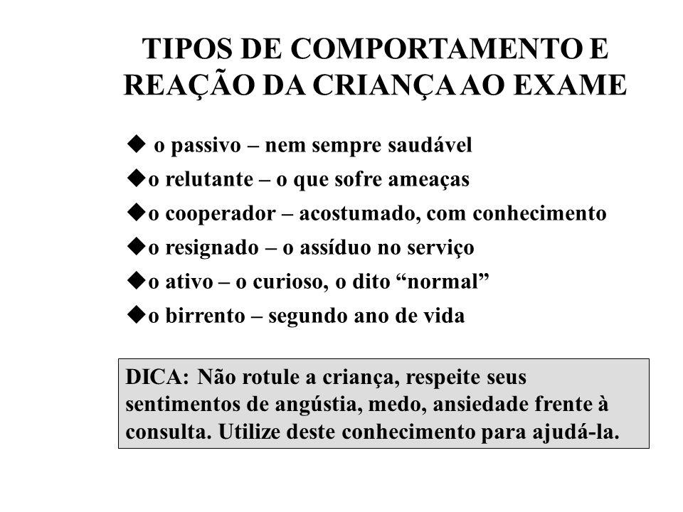 TIPOS DE COMPORTAMENTO E REAÇÃO DA CRIANÇA AO EXAME