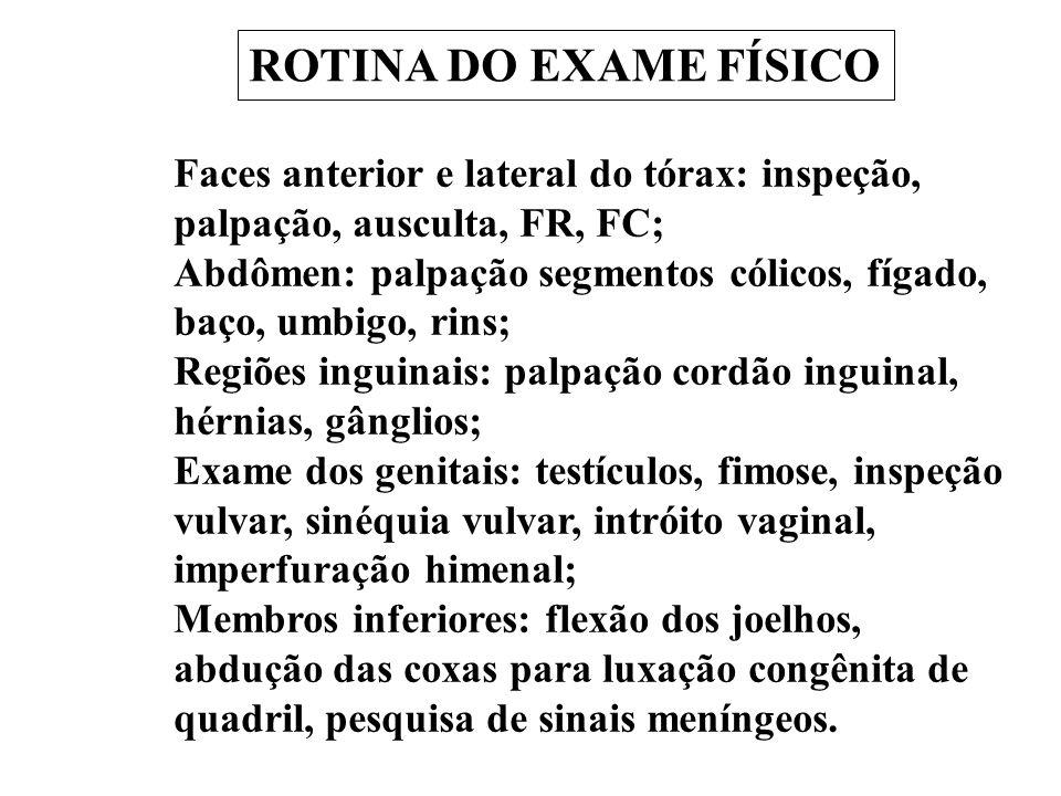 ROTINA DO EXAME FÍSICO Faces anterior e lateral do tórax: inspeção, palpação, ausculta, FR, FC;
