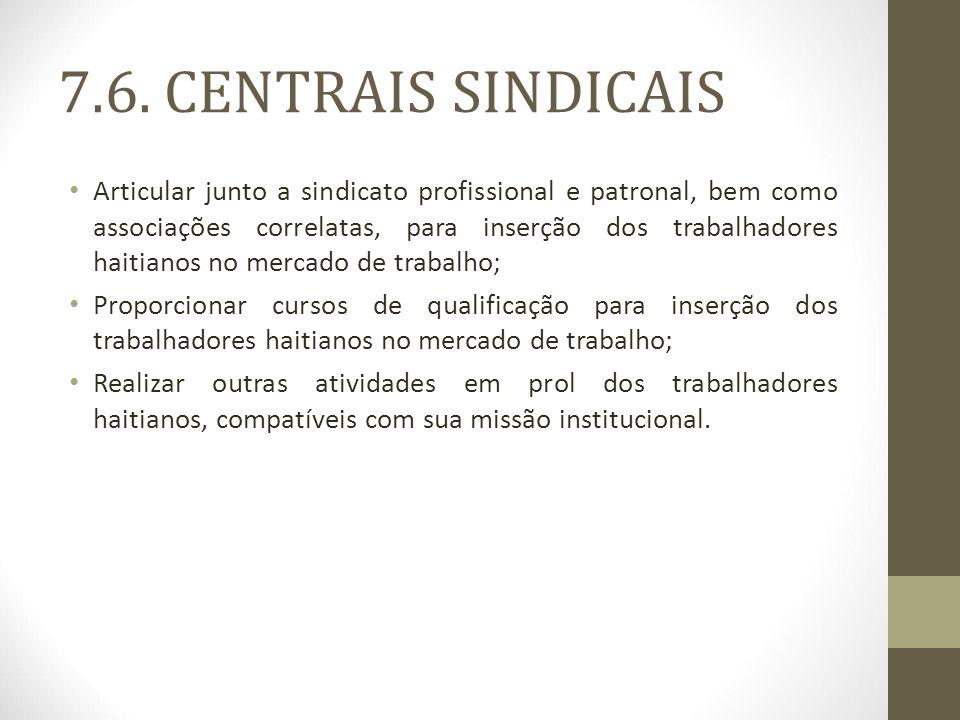 7.6. CENTRAIS SINDICAIS