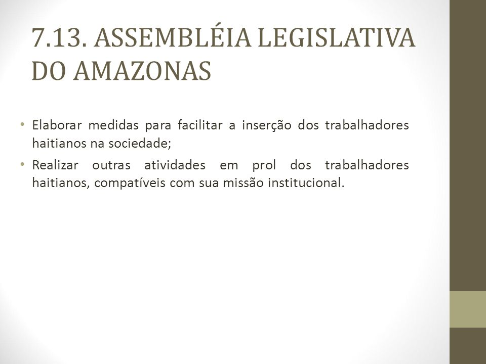 7.13. ASSEMBLÉIA LEGISLATIVA DO AMAZONAS