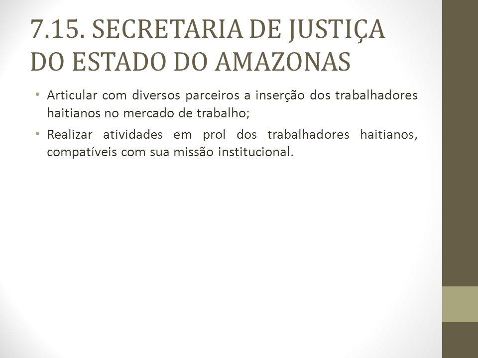 7.15. SECRETARIA DE JUSTIÇA DO ESTADO DO AMAZONAS