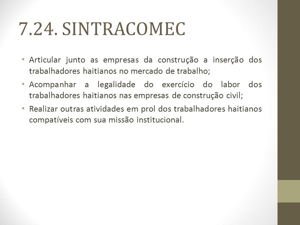 7.24. SINTRACOMEC Articular junto as empresas da construção a inserção dos trabalhadores haitianos no mercado de trabalho;