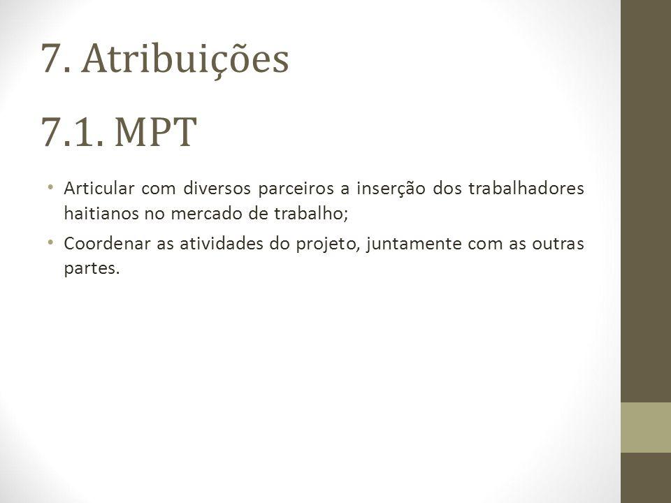 7. Atribuições 7.1. MPT. Articular com diversos parceiros a inserção dos trabalhadores haitianos no mercado de trabalho;